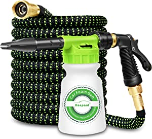 Konpard Foam Cannon for 50ft Expandable Garden Hose - Car Wash Foam Gun Adjustable Water Pressure & Soap Ratio Dial Foam Cannon,Strongest Triple Latex Core Hose,Easy Storage Kink Free Water Hose