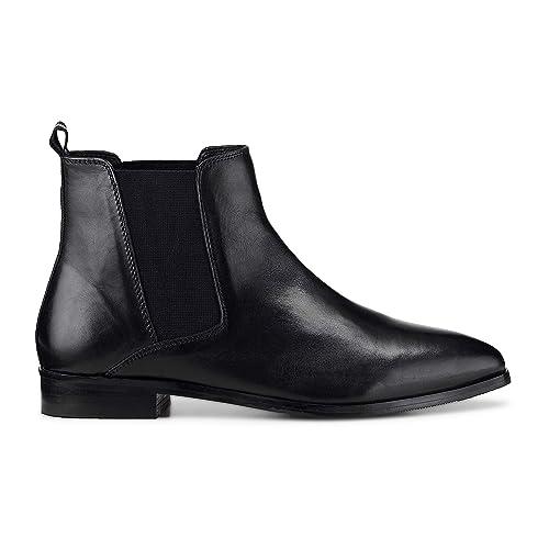Another A Damen Damen Chelsea-Boots aus Leder, Kurzschaft-Stiefel in  Schwarz mit 245a1fbe16