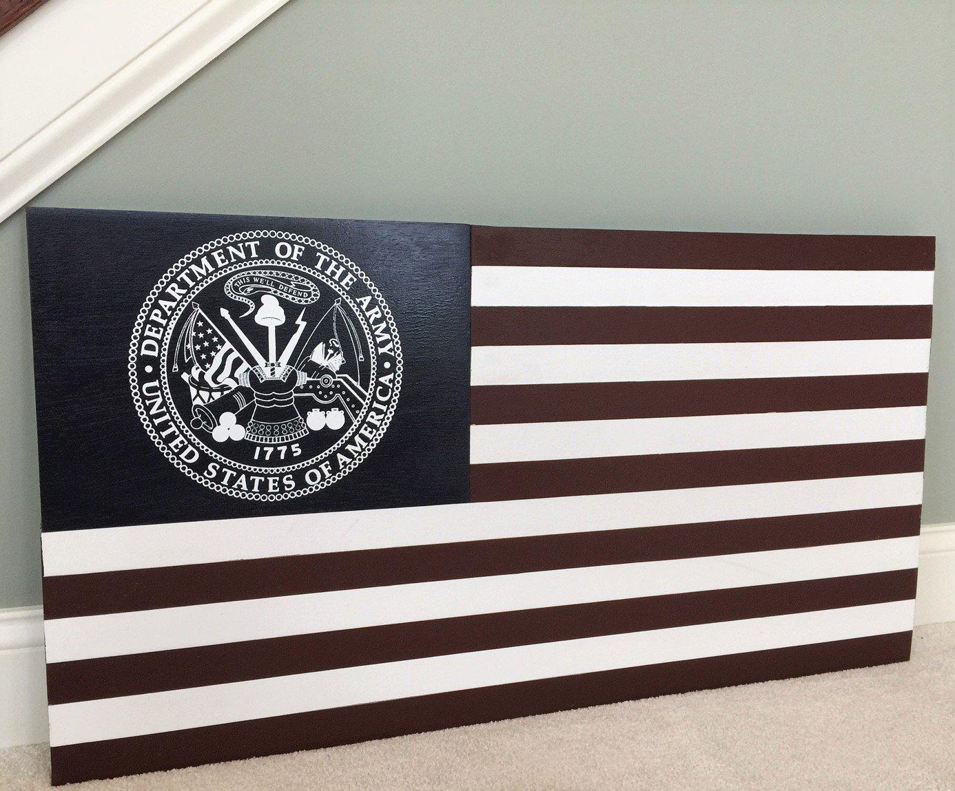 Ejército Americano Bandera/pared arte Americana patriótica con oficial del ejército escudo y lema: Amazon.es: Hogar