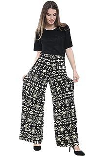 4fb11b56784c WearAll Plus Size Womens Plain Palazzo Wide Leg Flared Ladies Trousers Pants  - 16-26