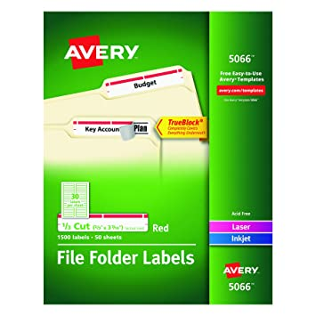 Amazon Avery Red File Folder Labels For Laser And Inkjet