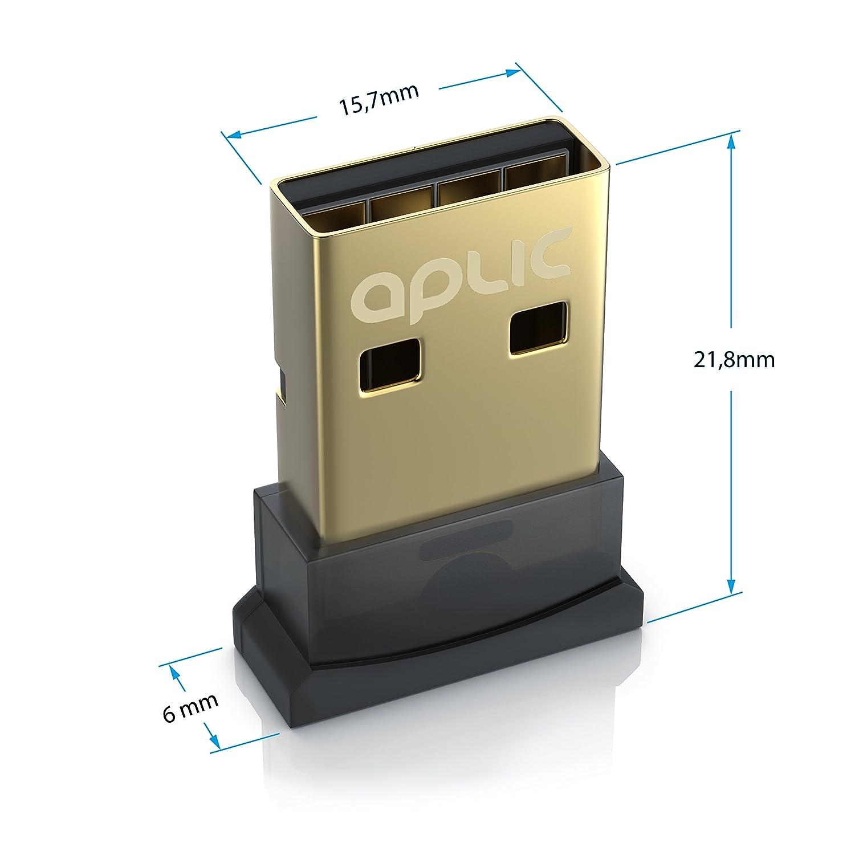 Aplic - Adaptador Bluetooth USB V4.0 | USB 2.0 High Speed | hasta 3 MBit/s | Alcance de hasta 20 m | Tecnología Bluetooth de Clase 4.0 | 2,4 GHz | A2DP ...