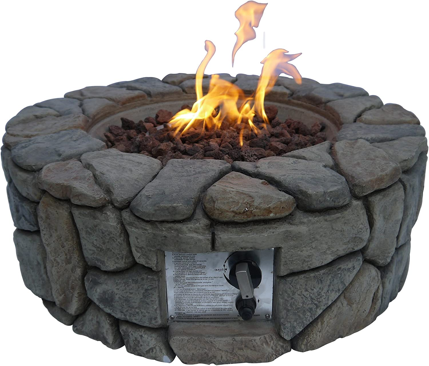 "Peaktop HF09501AA Round 40,000 BTU Propane Gas Fire Pit Stone Look for Outdoor Patio Garden Backyard Decking with PVC Cover, Lava Rock, 28"" x 28"", Gray"