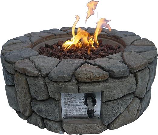 Peaktop Round Stone 28inch Hoyo de Fuego, Gris Piedra: Amazon.es: Jardín