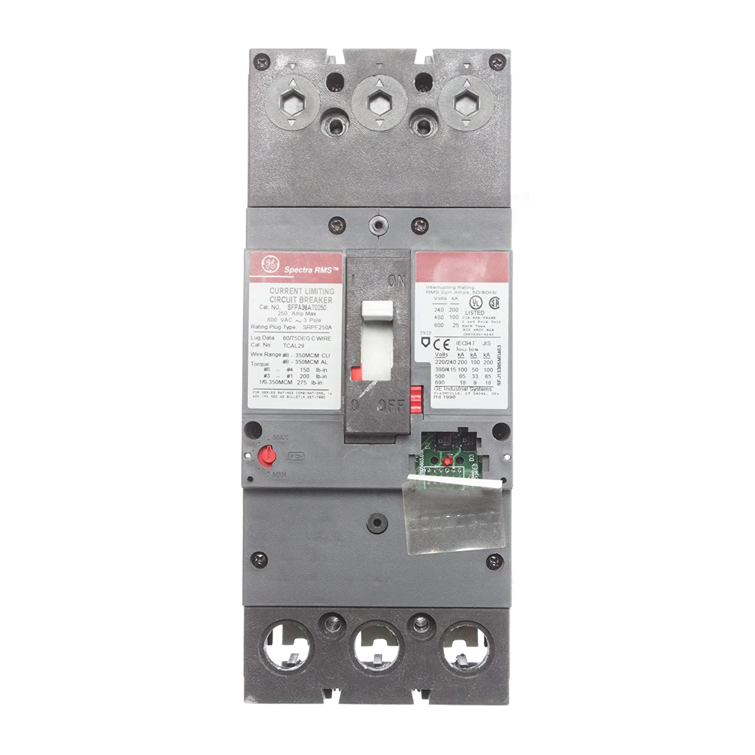 Ge Sfpa36at0250 Current Limiting Circuit Breaker 250 Amp 3 Pole 600 Volt Breakers