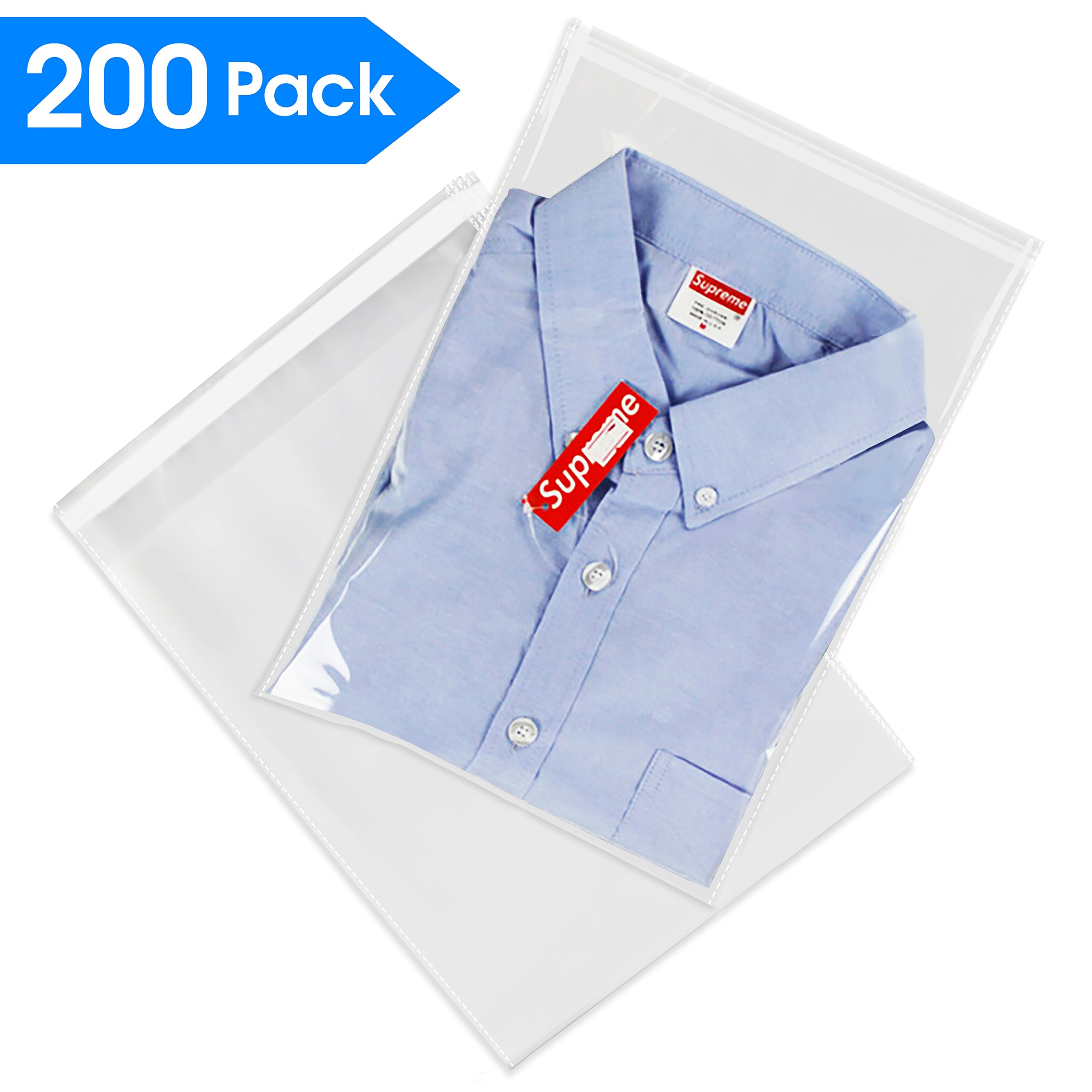 """200 Count - 9"""" X 12"""" Self Seal Clear Cello Cellophane Resealable Plastic Poly Bags - Perfect for Packaging Clothing, Shirts (More Sizes Available)"""