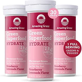 product image for Amazing Grass Effervescent Electrolyte Tablets: Greens + Hydration Water Flavoring Tablet with Vitamins, Strawberry Lemonade, 30 Count