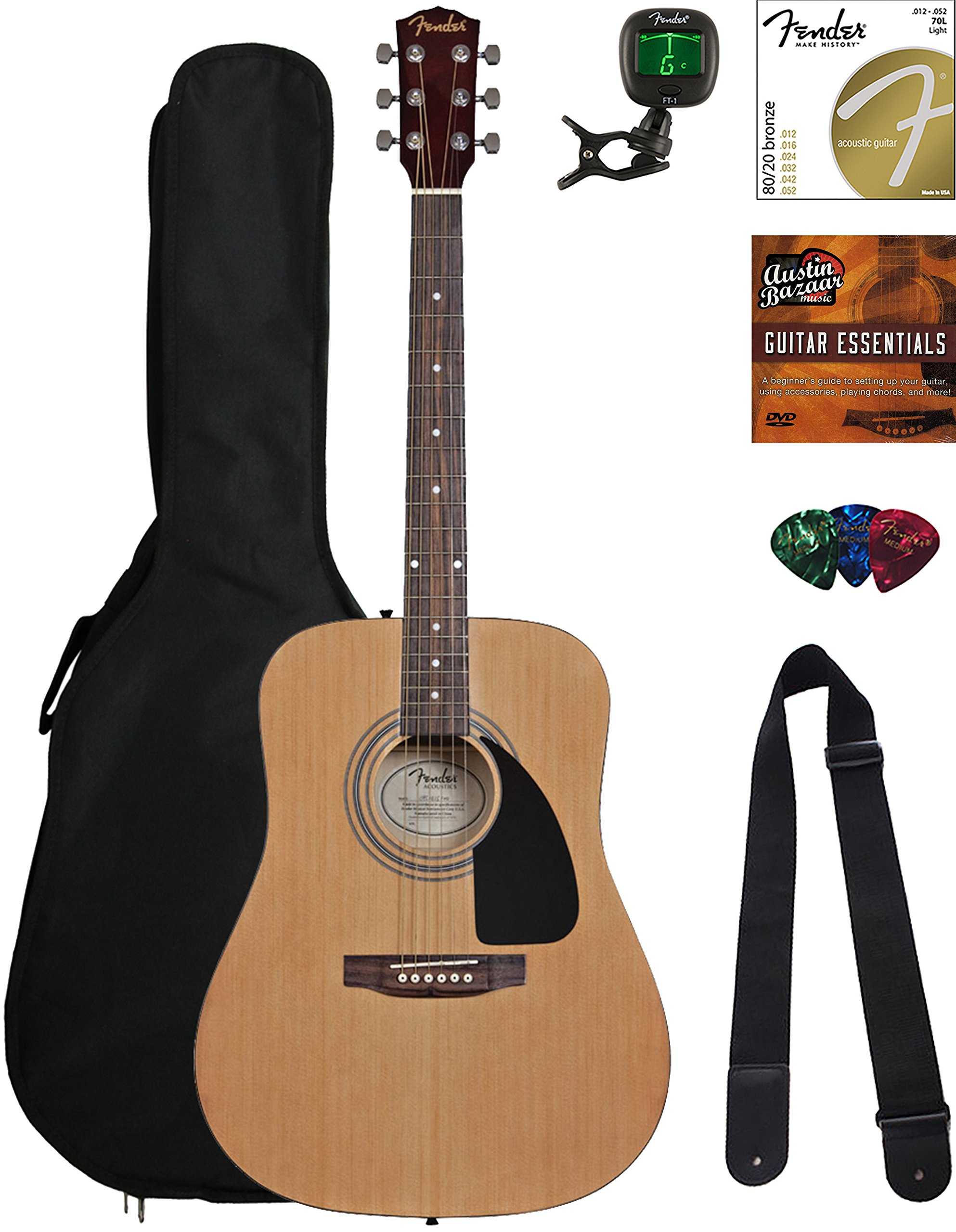 Fender Acoustic Guitar Bundle with Gig Bag, Tuner, Strings, Strap, Picks, Austin Bazaar Instructional DVD, and Polishing Cloth by Fender