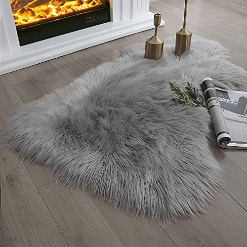 Ashler Ultra Soft Fluffy Area Rug Faux Fur Sheepskin Carpet Chair Couch Cover for Bedroom Floor Sofa Living Room, Grey 2 x 3 Feet