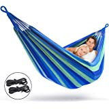 Sorbus Brazilian Double Hammock - Extra-Long 2 Person Portable Hammock Bed for Indoor or Outdoor Spaces - Hanging Rope, Carrying Pouch Included (Blue/Green Stripes)