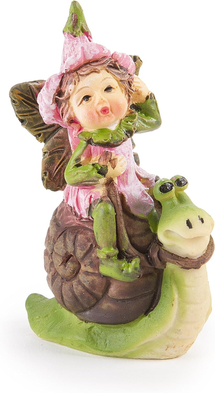 Darice Garden Mini Fairy on Snail,Brown Pink Green,2 5/8 x 2 5/8 inches