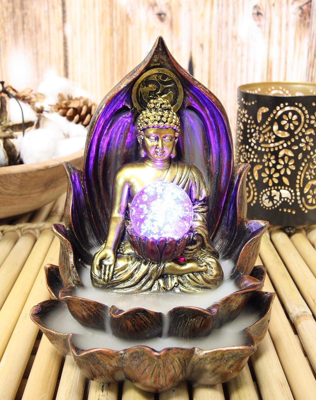 "Ebros Meditating Buddha Gautama Amitabha in Varada Mudra in Ohm Lotus Padma Throne Backflow Cone Incense Burner with Colorful LED Light Globe Statue 6"" Tall Buddhism Statue Feng Shui Decor Altar"