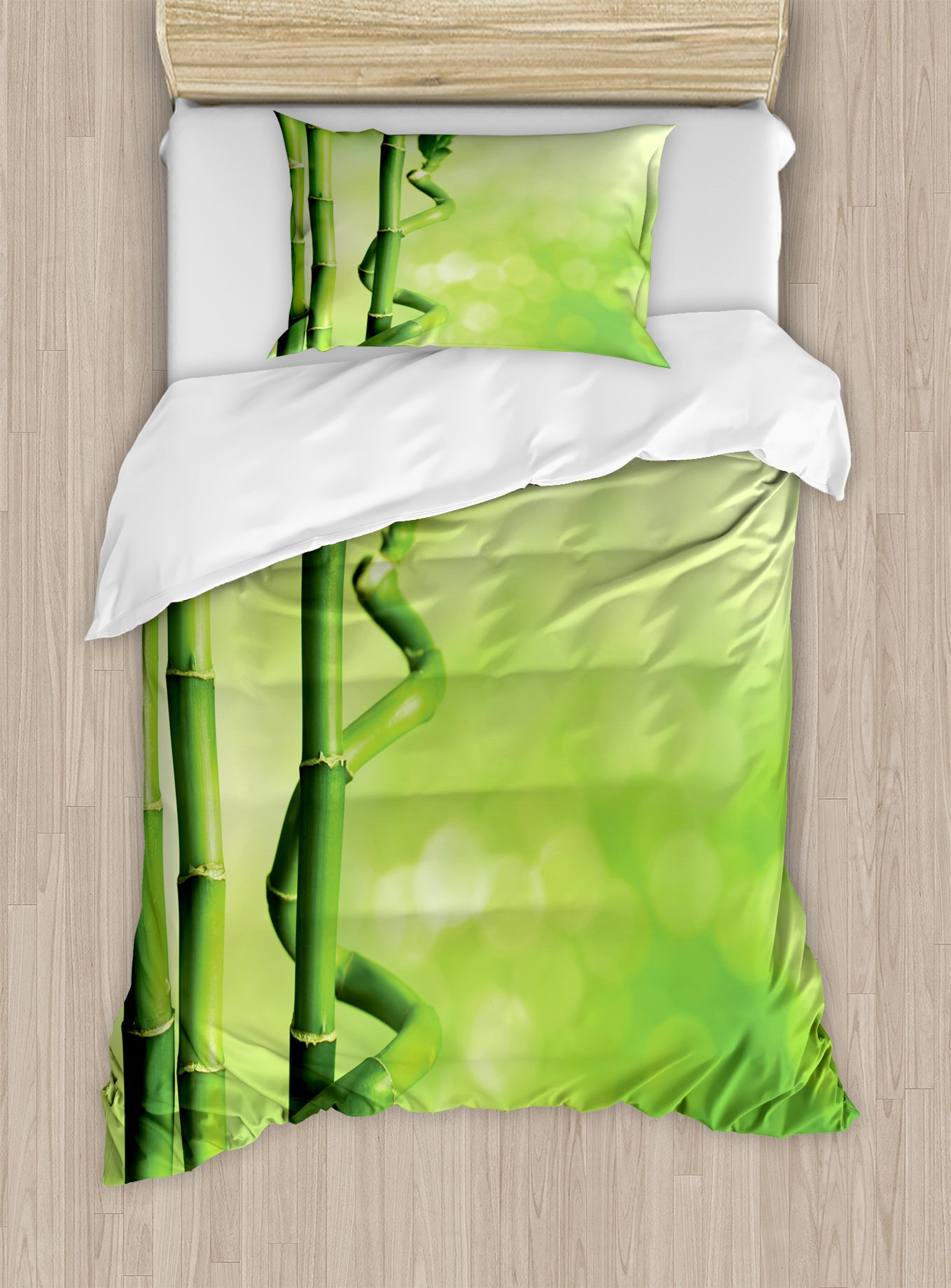 Ambesonne Green Duvet Cover Set Twin Size, Bamboo Stems Nature Ecology Sunbeams Soft Spring Scenic Spa Health Relaxation, Decorative 2 Piece Bedding Set with 1 Pillow Sham, Green Light Green