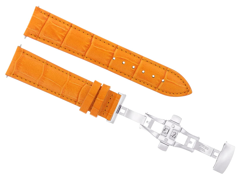 ewatchparts 17 18 19 20 21 22 23 24 mmレザー腕時計バンドストラップClasp for Jaeger LeCoultre 2b 20mm オレンジ  オレンジ 20mm B07DHMQMBY