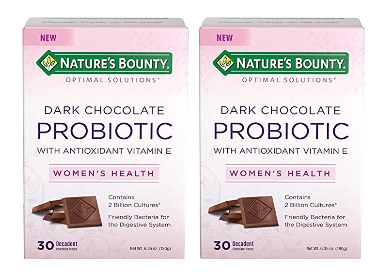 Nature's Bounty Women's Decadent Dark Chocolate Probiotic, 30 Pieces (Pack of 2)
