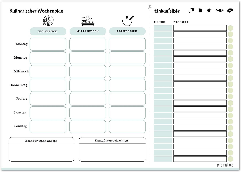 der Essenplaner f/ür die ganze Woche inkl Kulinarischer Wochenplan Men/üplaner /& Einkaufsliste in Din A4 mit 50 Blatt blau Platz f/ür Ideen