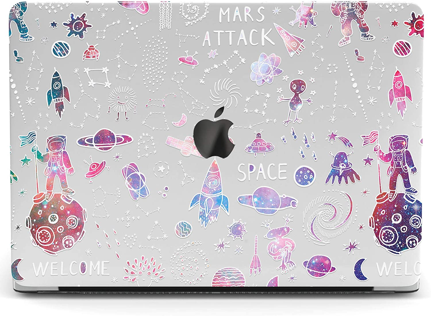Wonder Wild Mac Retina Cover Case Compatible for MacBook Pro 15 inch 12 11 Clear Hard Air 13 Apple 2019 Protective Laptop 2018 2017 2020 Plastic Print Cute Watercolor UFO Space Rocket Kids Galaxy