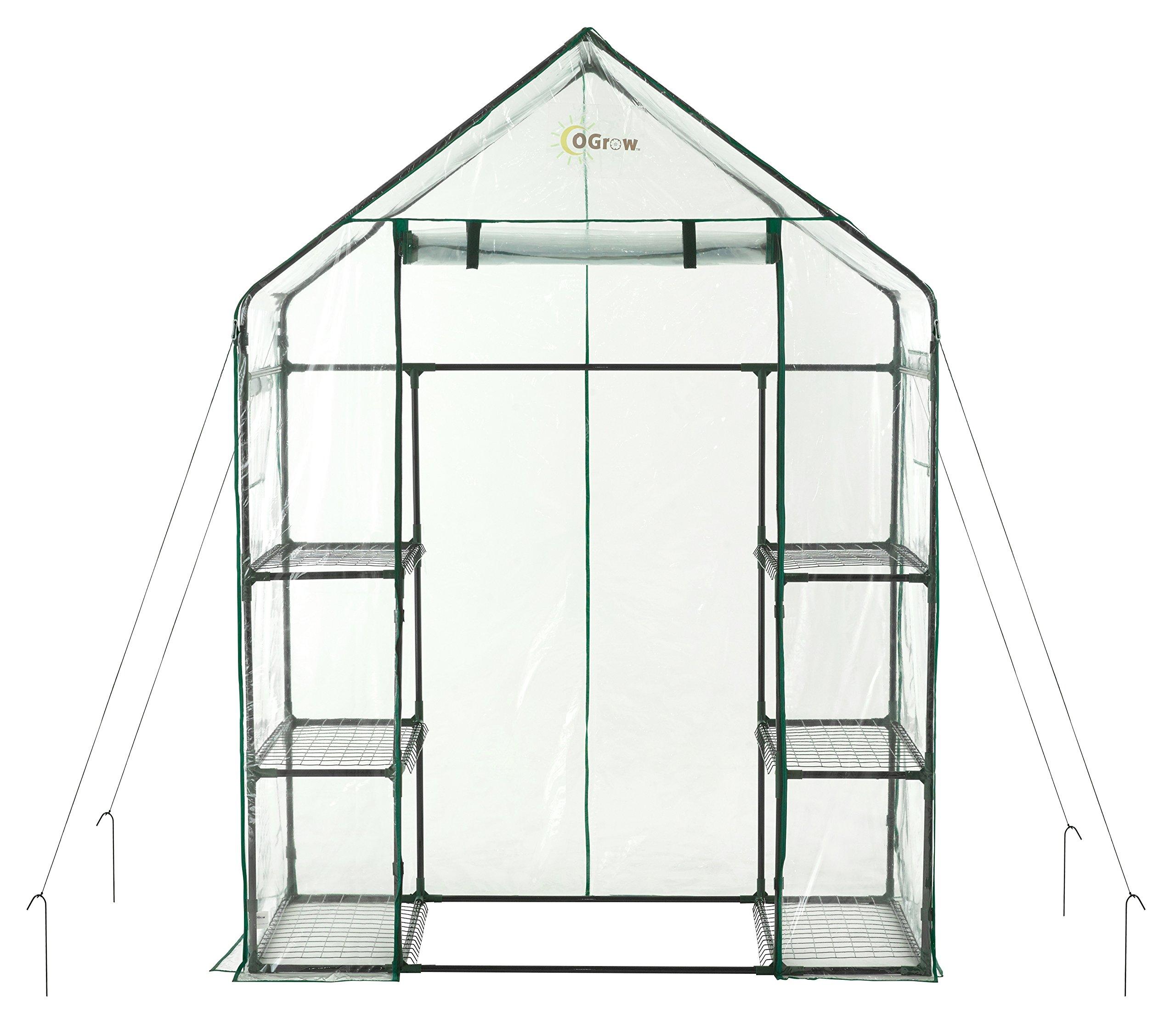 OGrow OG6834-S Deluxe WALK-IN 3 Tier 6 Shelf Portable GREENHOUSE