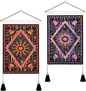 2 Pack Burning Sun Tapestry Sun and Moon Tapestry Psychedelic Celestial Planet Tapestry Hippie Bohemian Trippy Tapestry Wall Hanging for Room(13.8 x 19.7 inches)