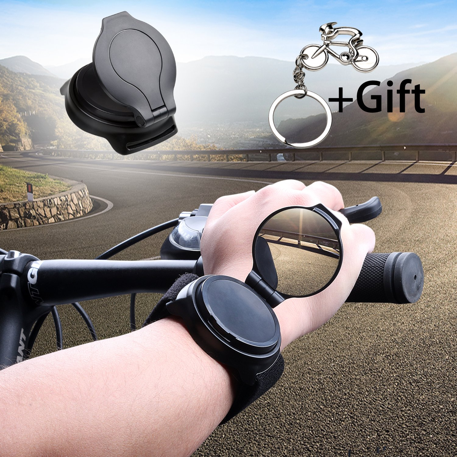 Bicycle Wrist Mirror, Wrist Band Bike Mirrors for Safety Cycling Rotatable Collapsible Cycle Backeye with Elastic Armband Portable Biking Accessories by West Biking (Image #4)