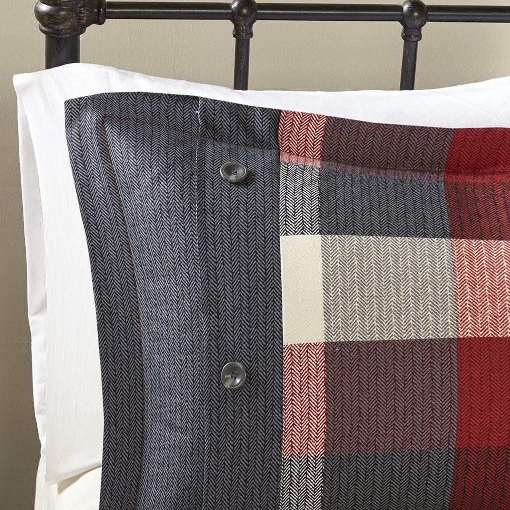madison park ridge king size bed comforter set bed in a bag red plaid 7 675716979065 ebay. Black Bedroom Furniture Sets. Home Design Ideas