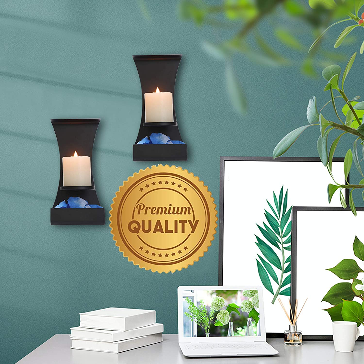 Metal Wall Candle Sconces Wall Decor Set of 2 Wall Candle Holders Decorative Set of 2 Metal Wall Decorations For Living Room Lumera Lights Black Metal Wall Sconces Set of Two Candle Holders