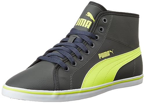 78cde0395f5 Puma Men s Elsu V2 Mid Sl Idp Dark Shadow and Safety Yellow Sneakers - 10 UK
