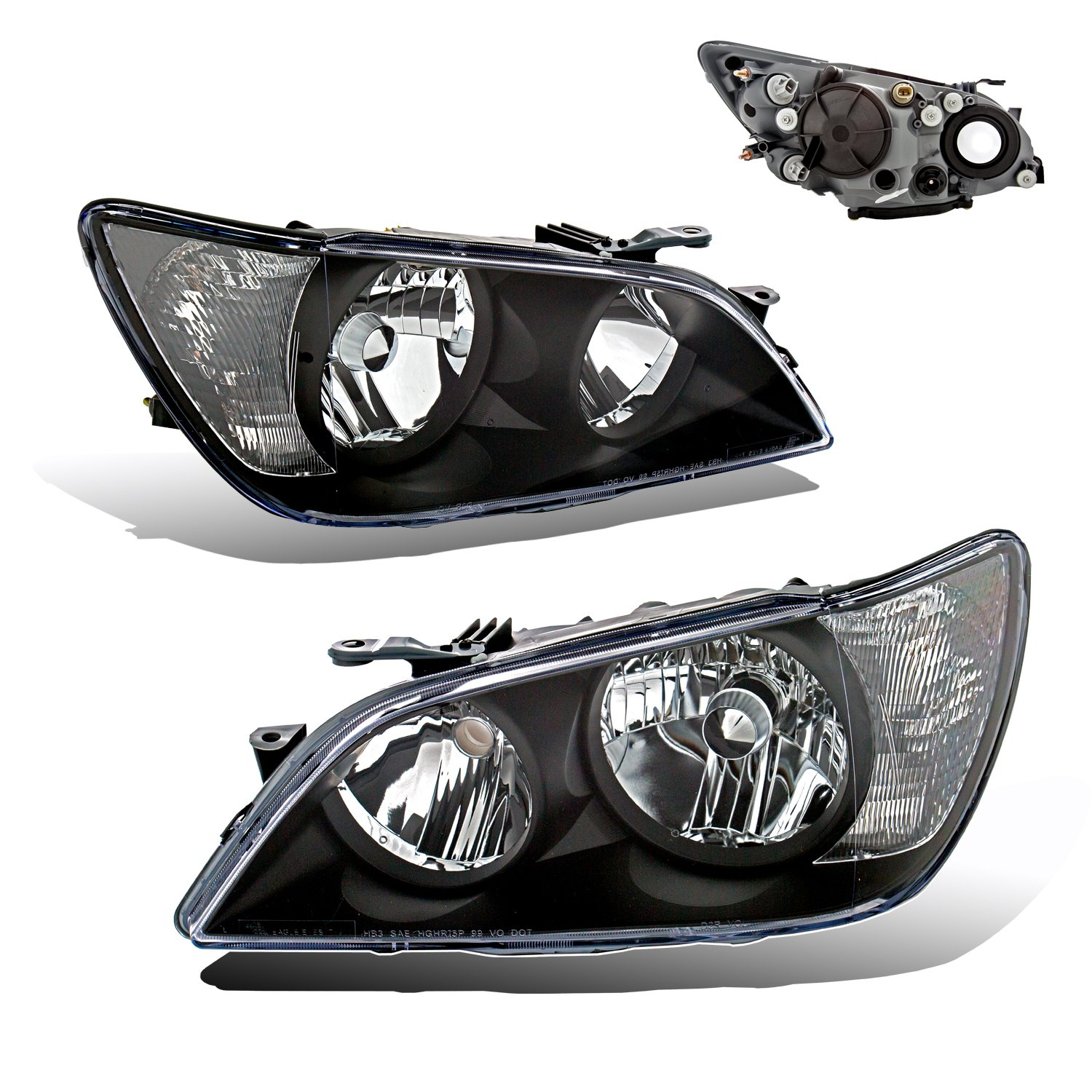 Amazon.com: SPPC Projector Headlights Black Assembly Set For Lexus IS 300 -  (Pair) Driver Left and Passenger Right Side Replacement Headlamp: Automotive