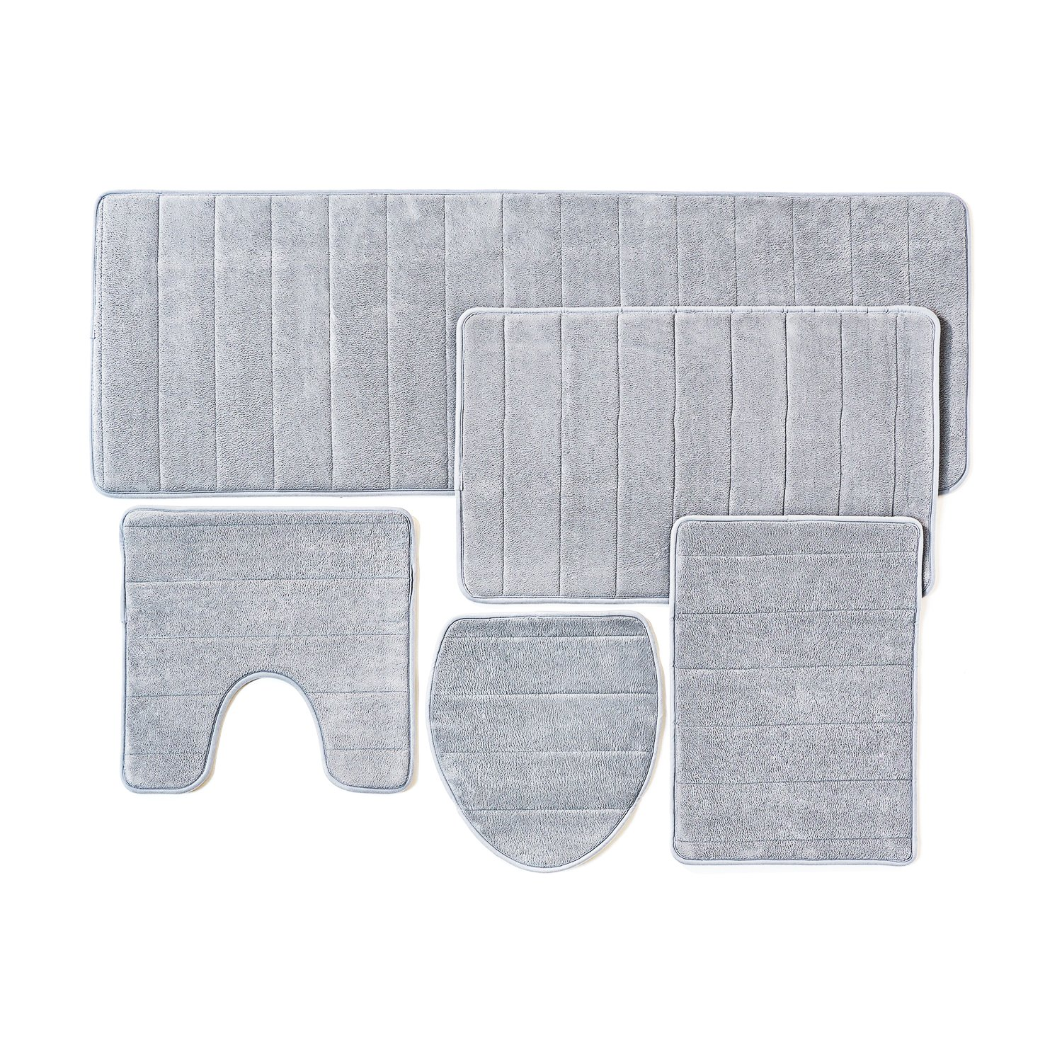 Amazon.com: Bathroom Rug Mat, 5-Piece Set Memory Foam, Extra Soft ...
