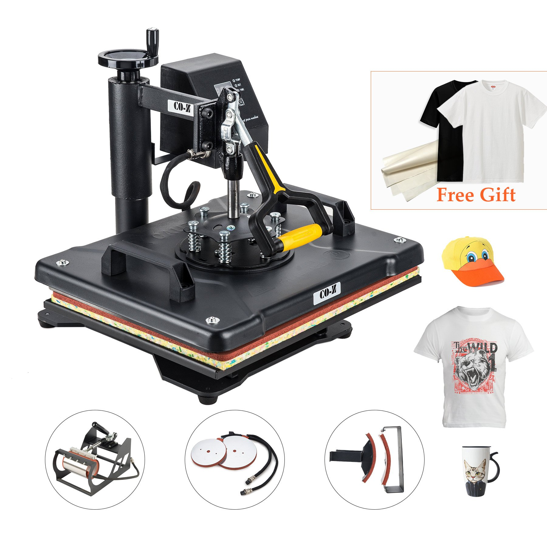 "CO-Z 5 in 1 12"" X 15"" Heat Press 360 Degree Swivel Heat Press Machine Multifunction Sublimation Combo T Shirt Press Machine for Mug Hat Plate Cap Mouse Pad 1250W (Basic 5 in 1)"