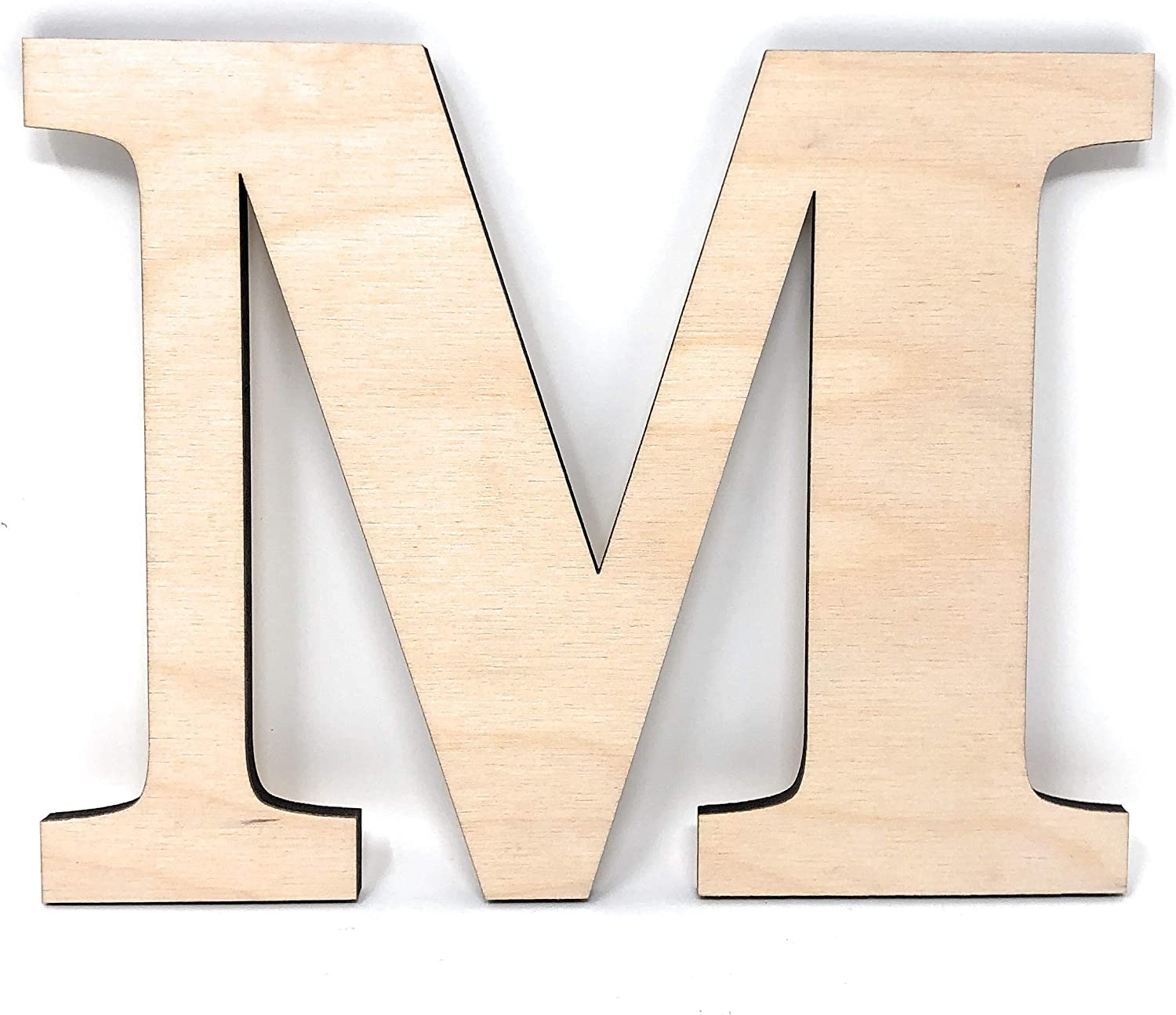 "Gocutouts 12"" Wooden M Unfinished Wooden Letters Paint Ready Wall Decor News (12"" - 1/4"" Thick, M)"