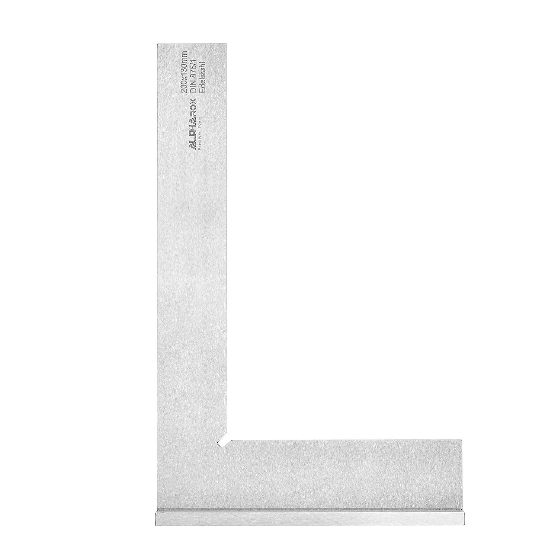 Anschlagwinkel aus Edelstahl 200 x 130 mm (rostfrei) - Hohe Genauigkeit nach DIN875/1 - erstklassige Qualitä t inkl. Holzbox AlphaRox