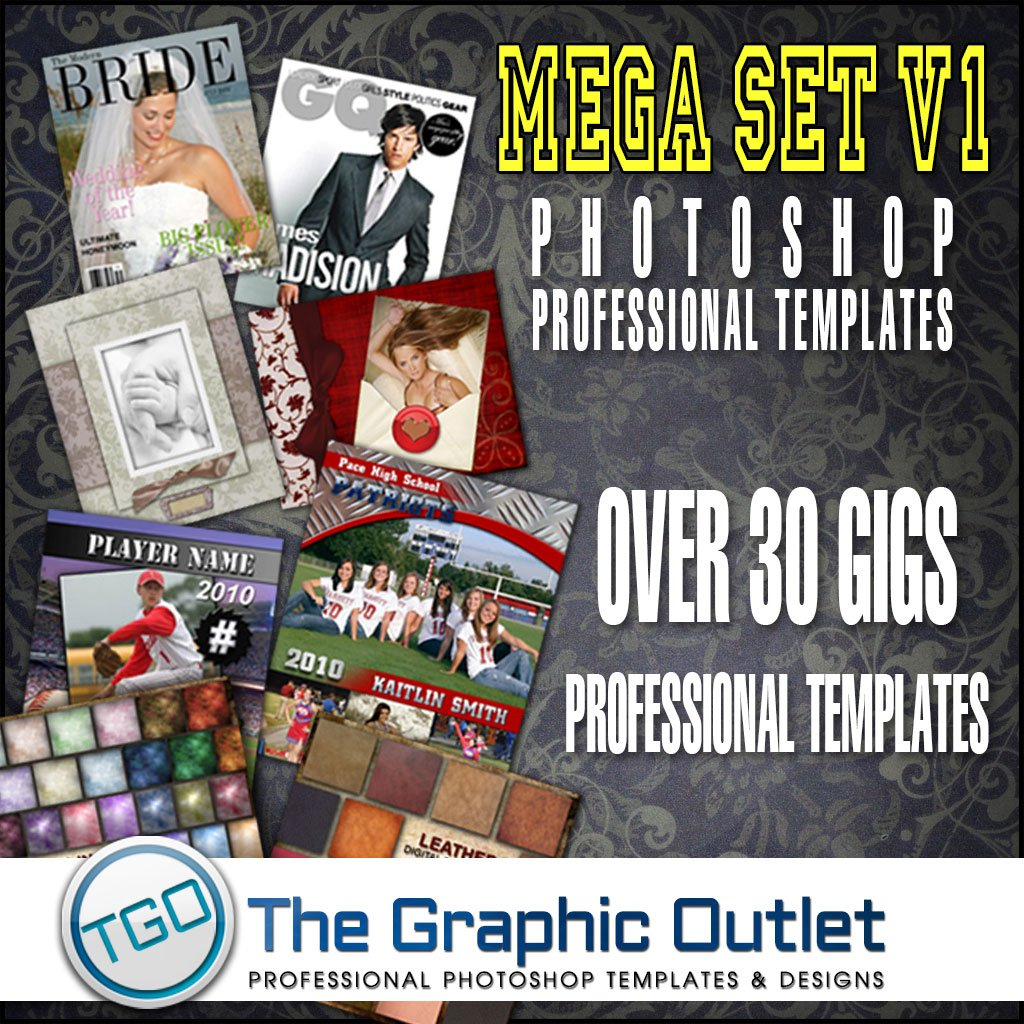 The Mega Set - Photoshop Pro Templates: Seniors, Sports, Wedding, Holiday Cards, Digital Backdrops, Fonts, Brushes & Much More!