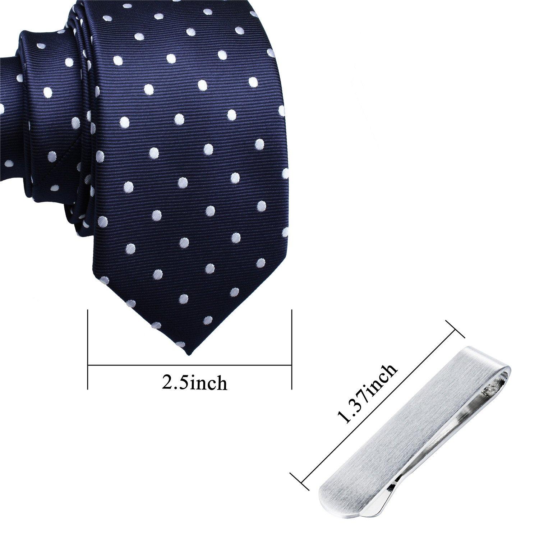 Mens Shinny Ties Polka Dots Polyester Necktie with Tie Bar Clip (2.5 inch Necktie) by HAWSON (Image #7)