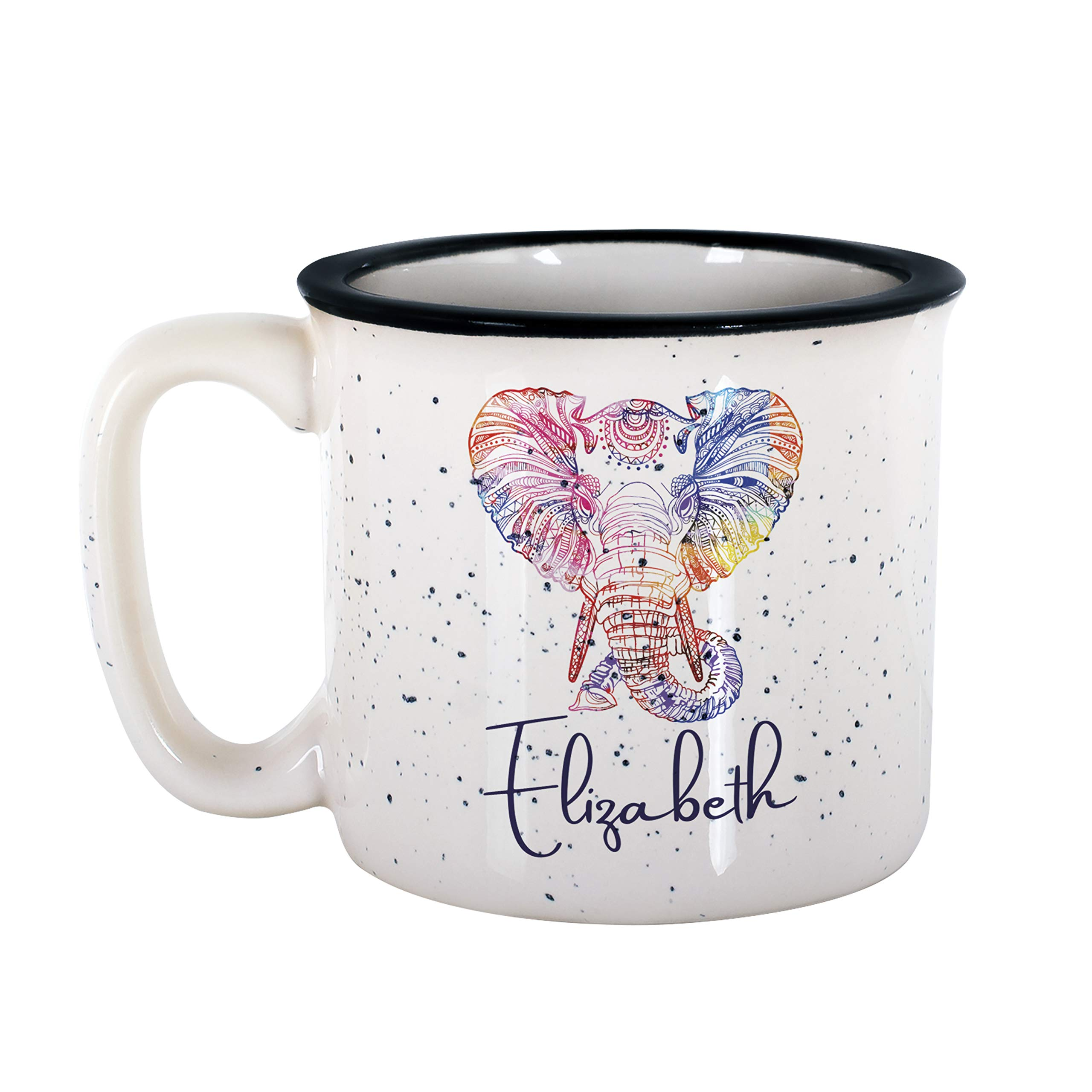 Personalized Gifts Colorful Elephant Coffee Mug - 16oz Camp Style Ceramic Mug -Birthday Gifts, Christmas Gifts, Mother's Day Gifts, Father's Day Gifts, Funny Mug for Kids