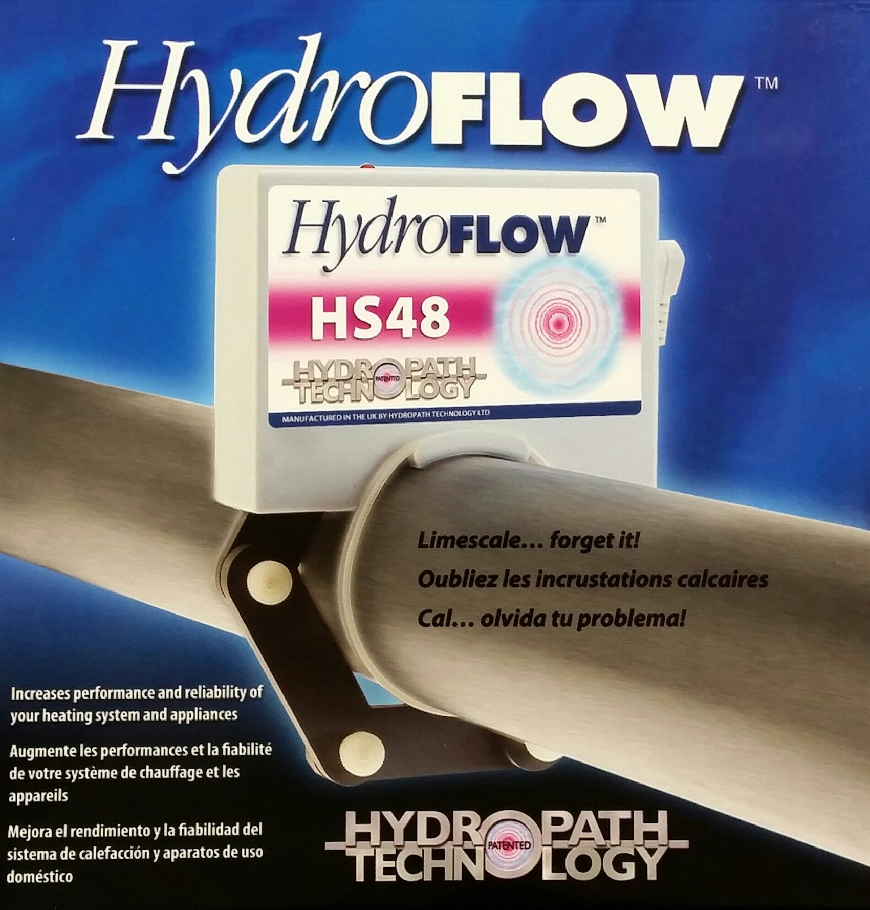 HydroFLOW | HS48 | Salt and Chemical Free Water Conditioner | Removes and Prevents Scale Build-Up | For Homes and Commercial Kitchens