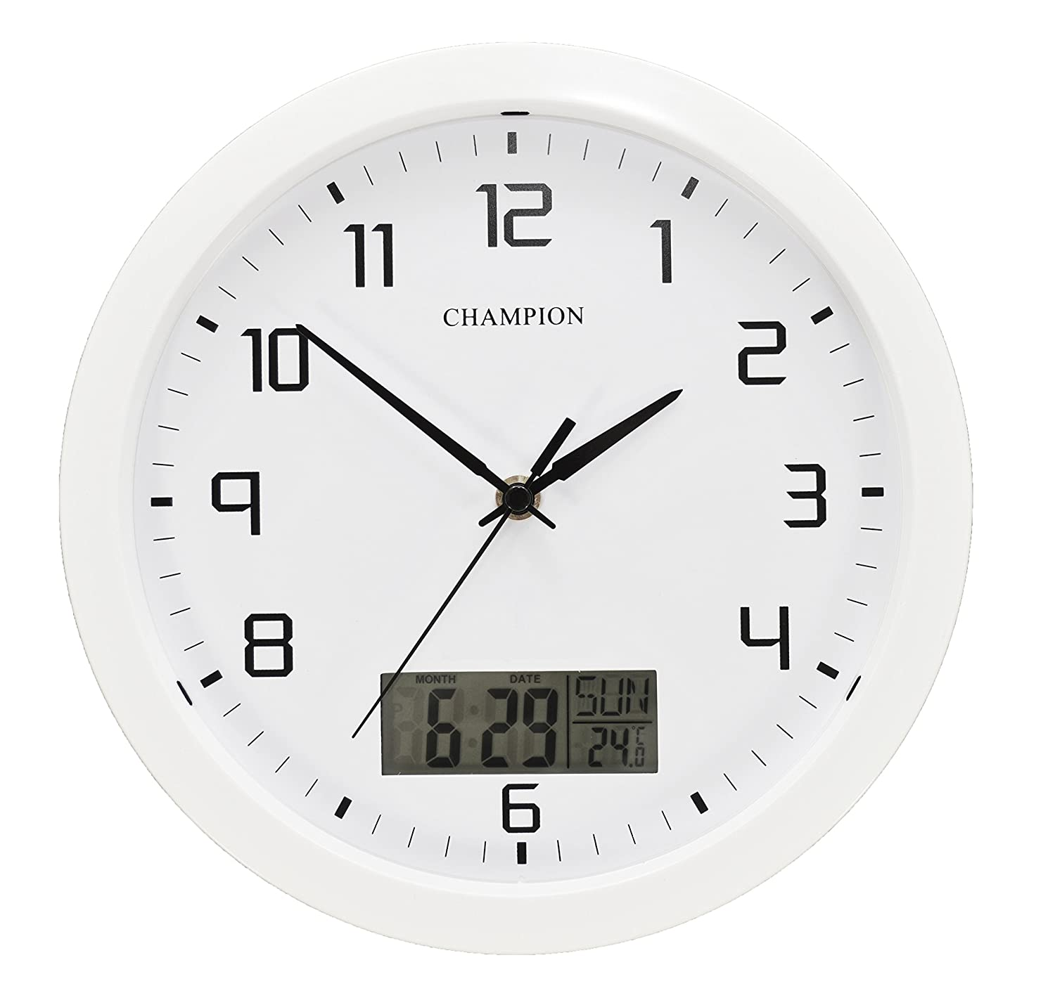 Champion 25cm quartz wall clock with inset lcd display with day champion 25cm quartz wall clock with inset lcd display with daydate white amazon kitchen home amipublicfo Images