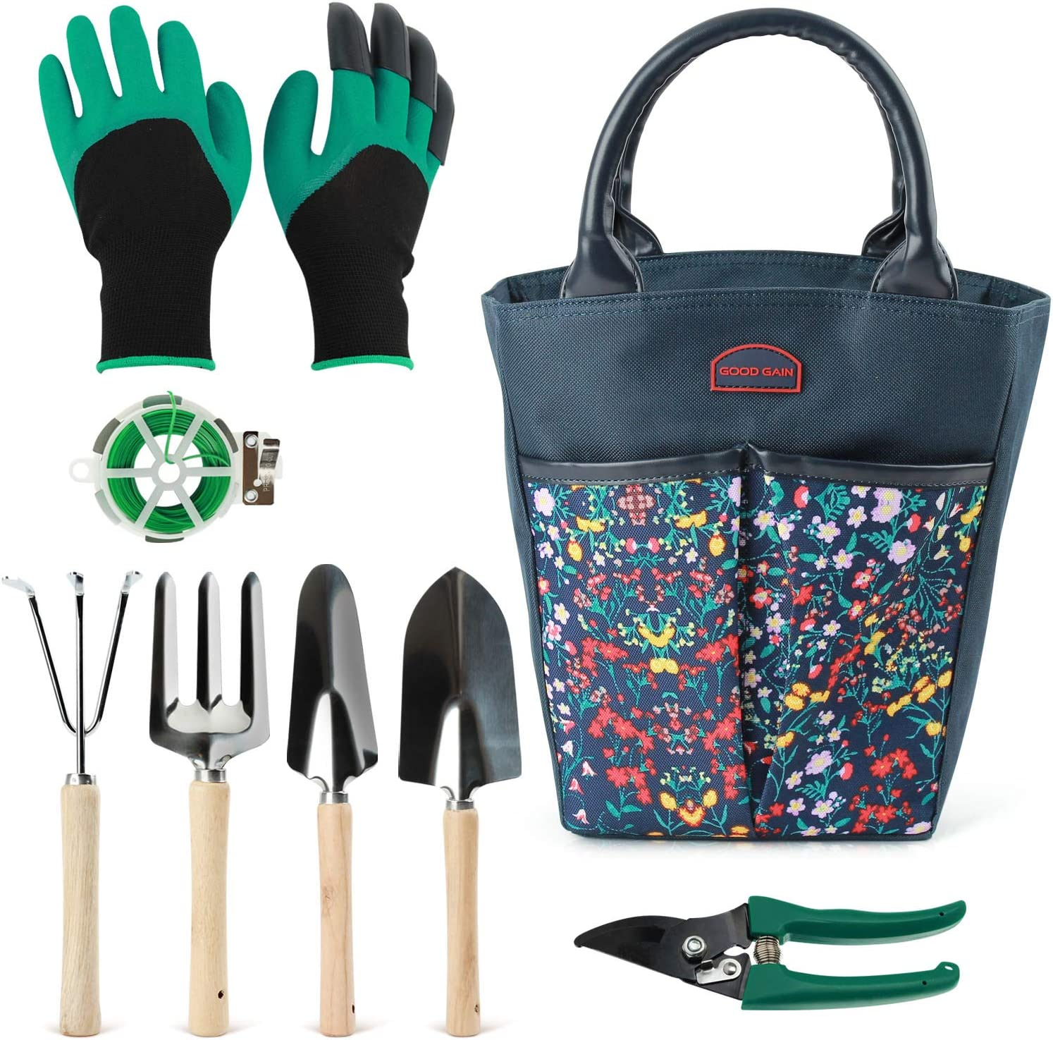 Good GAIN Garden Tools Set, 9 Piece Gardening Organizer Kit with Storage Tote Bag, Heavy Duty Planting Tools, Digger Gloves, Binding Wire and Pruner, Great Gift for Women & Men Mothers' Day. Blue