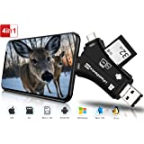 Trail Camera Viewer SD Card Reader, 4 in 1 Hunting Deer Camera Memory SD Card Reader to View Wildlife Scouting Game Camera Hu