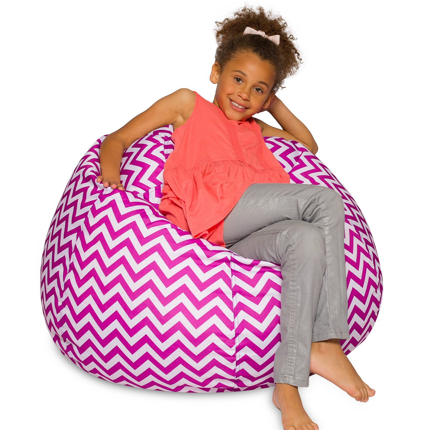"27"" Patterned Bean Bag for Teens Adults & Children Pink and White Posh Beanbags AMZ-27-Chev-PW"