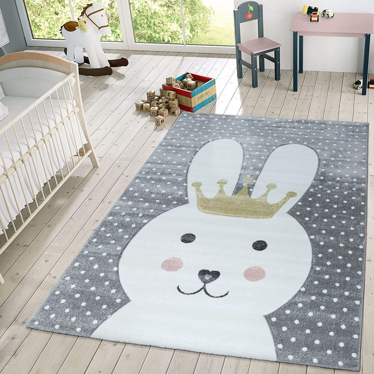 Spiel-Teppich F/ür Kinderzimmer Mit Stra/ßen-Motiv In Gr/ün Grau Gr/össe:80x150 cm Paco Home Kinder-Teppich