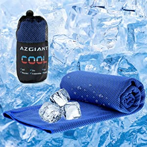 """AZGIANT Cooling Towel, Instant Cooling Towels for Athletes, 40""""x16"""" Cool Clothes for Women Chilling Neck Wrap for Camping, Hiking, Gym Workout, Fitness, Yoga, Golf (Blue)"""