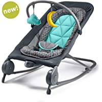 Summer 2-in-1 Bouncer & Rocker Duo - Baby Bouncer & Baby Rocker with Soothing Vibrations, Removable Toys & Compact Fold for Storage or Travel - Easy to Clean, Machine Washable Fabrics, Gray/Teal