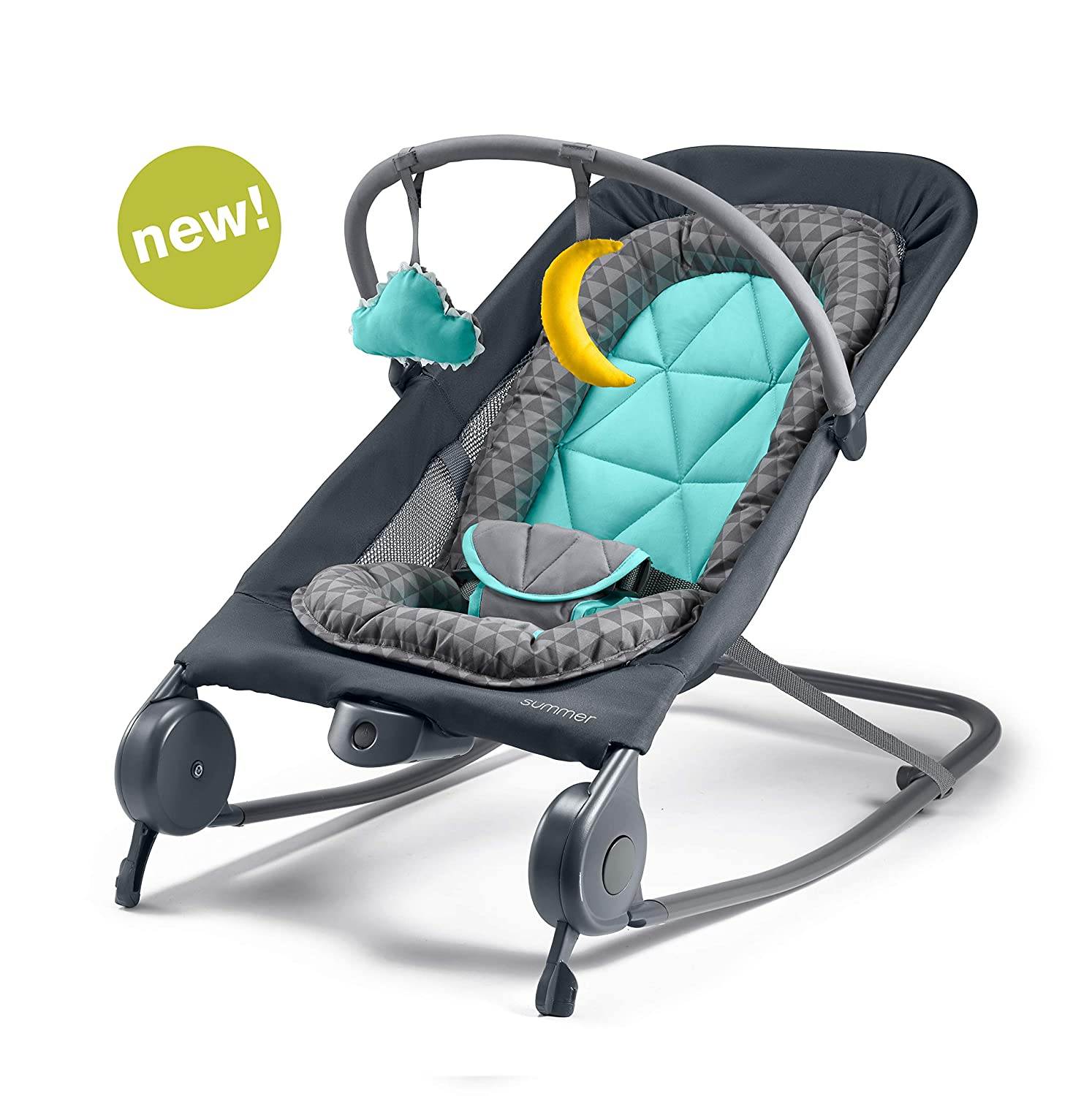 Summer 2-in-1 Bouncer Rocker Duo – Baby Bouncer Baby Rocker with Soothing Vibrations, Removable Toys Compact Fold for Storage or Travel – Easy to Clean, Machine Washable Fabrics, Gray Teal
