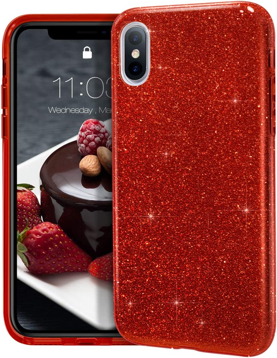 """MATEPROX iPhone Xs Max case,Bling Sparkle Cute Girls Women Protective Case for iPhone Xs max 6.5"""" (Red)"""