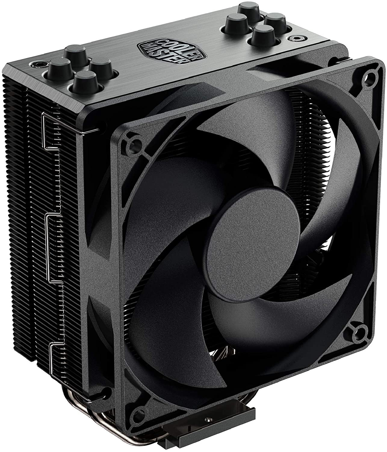 Cooler Master Hyper 212 Black Edition CPU Air Cooler w/ Silencio FP120 120mm Fan, 4 Continuous Direct Contact 2.0 Heatpipes, Anodized Gun-Metal Black, Brushed Nickel Fins, Intel LGA1151, AMD AM4/Ryzen