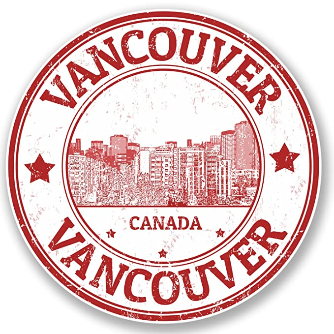 2 x 10cm Vancouver Canada Vinyl Sticker Luggage Travel Tag Luggage Label #9186