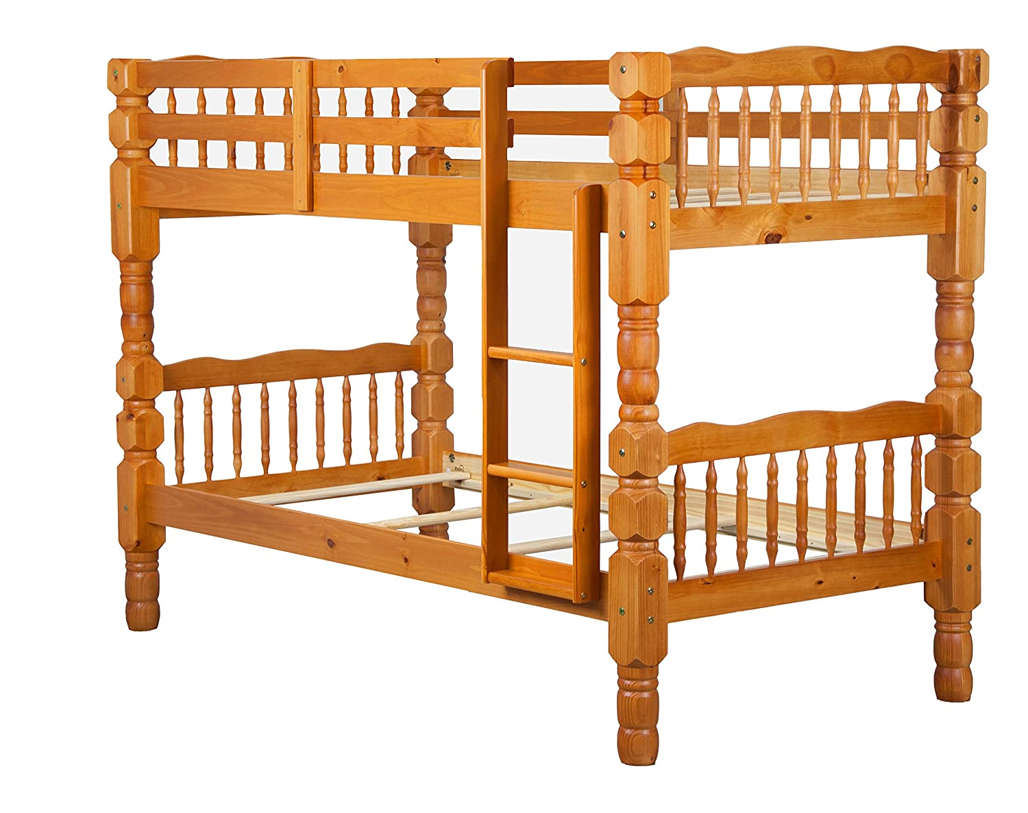 100% Solid Wood Dakota Twin Over Twin Bunk Bed by Palace Imports - Honey Pine - 4 Posts - 8 Slats Included. Optional