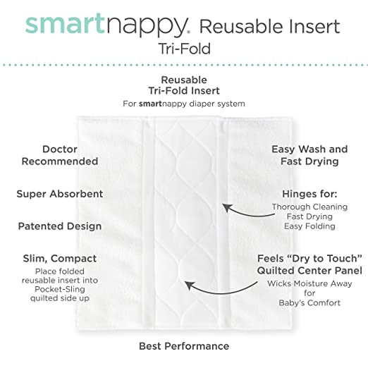 5 Tri-fold Inserts and 5 Boosters 8-15 lbs Amazing Baby Reusable Inserts for SmartNappy Hybrid Diaper Cover Set of 10 Size 2