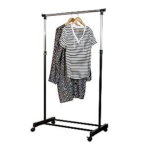 "Honey-Can-Do GAR-01122 Adjustable Height Garment Rack, b, 33.1"" x 16.7"" x 65.75"", Chrome/Black"